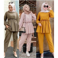 Setelan baju wanita muslim, setelan celana panjang Moscrepe Premium
