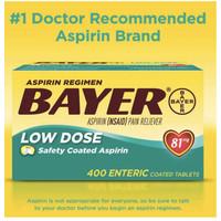 Bayer Aspirin Low Dose 400 Tablet @81 mg - Pain Reliever -Original USA