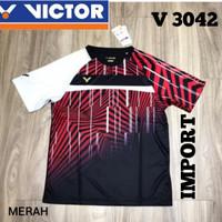 baju kaos badminton bulutangkis victor import v 3042 merah