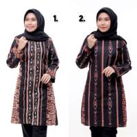 Baju Batik Tunik Wanita Motif Songket Lengan Panjang