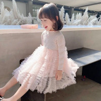 dress bayi lengan panjang / gaun anak import princess tutu polkadot