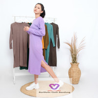 Blouse Sweater Rajutan Tebal - Purple, M