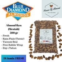 Natural Whole Raw Almond (Mentah) kacang almond Blue Diamond 500gram