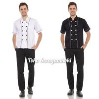 Baju Chef Seragam Chef Kemeja Chef list hitam lengan pendek - Putih, S