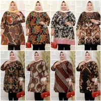 Atasan Baju Batik Wanita Muslim Tunik Super Jumbo XXXL 3L 4L 5L LD 140