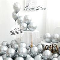 balon metalik chrome / balon karet / balon dekorasi / balon mengkilap - silver