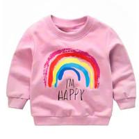 SWEATER ANAK PEREMPUAN LAKI-LAKI 1-8TAHUN I'M HAPPY/ BAJU HANGAT ANAK - Pink, 2