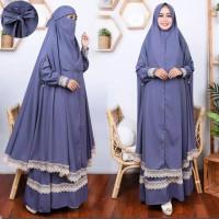 Baju Gamis Syari Wanita Muslimah Terbaru Dress Renda Set Khimar Besar