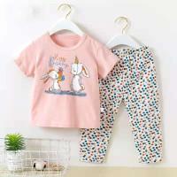 Baju tidur lengan pendek celana panjang anak perempuan/ piyama import - DA 2, 55