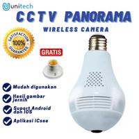 KAMERA CCTV LAMPU IP WIRELESS PANORAMA FISHEYE 360 (BOHLAM / BULB)