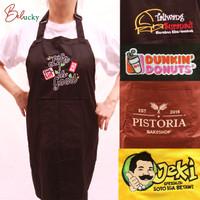 Celemek Apron Custom Bordir Logo dan Nama , Apron Masak, Apron Koki