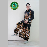 baju kemeja batik pria setelan celana motif wayang tumpuk