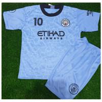 Baju bola anak. setelan bola Manchester city biru. size 20