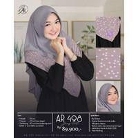 Hijab Arrafi Terbaru AR 498 Jilbab Bergo Instan Kombinasi Motif Polka