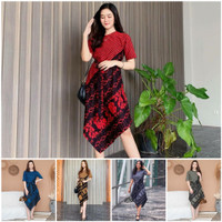 Seragam Baju Dress Batik Pesta Kondangan Wanita Modern Viral Terbaru