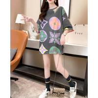 T Shirt Dress LV Semi Terusan Monokrom Tangan3/4 - FASHION IMPORT