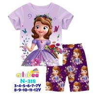 Baju Tidur Sofia Anak Lengan Pendek Celana Pendek size 8-12tahun - 11y