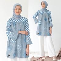 Baju Batik Wanita Tunik Batik Motif Koin Soft Blue Kombinasi Terbaru
