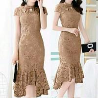 Dress Pophie - Dress Brukat Wanita - Dress Pesta Wanita Terbaru - Pophie Cream