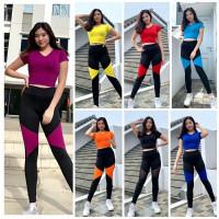 Setelan Baju Senam Zumba Olahraga Aerobik Yoga Gym Running Aerobic