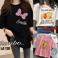 Kaos Oversize Wanita Korea Atasan Tumblr Tee T Shirt Jumbo Oblong Lucu