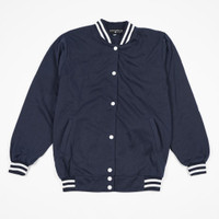 Daily Outfits Sweater Jaket Baseball Varsity Biru Navy Premium Quality