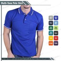 Kaos Polo Shirt Biru Benhur List Putih Lengan Pendek
