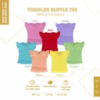 Atasan Kaos Ruffle Tee anak perempuan 1-3 tahun Baju Lengan Kupu - Cyan, M