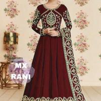 Baju Muslim Gaun India Gamis Dress Maxi Linda Marun