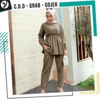 Baju Gamis Thania Moscrep Set Gamis Wanita Muslimah Tanpa Jilbab