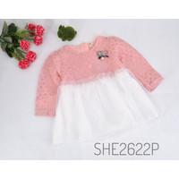 BJ104-Dress brocade bross PITA baju anak balita perempuan pesta