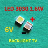 LED 3030 6V 1.6W Cold White Backlight LCD TV SMD Lampu Putih 6 Volt