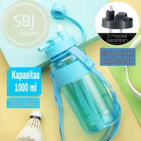 BOTOL AIR MINUM BPA FREE SPORT 1000 ML Sedotan Dua Fungsi - Biru Muda
