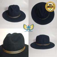 Topi Koboy Laken Fedora Hat Model Brim Lebar Bahan Wool Premium Tmbang