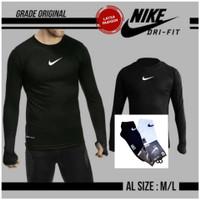 Baju olahraga manset jari pria Nike lengan panjang manset baselayer