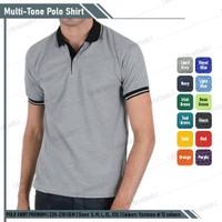 Kaos Polo Shirt Abu Misty Kerah Hitam Lengan Pendek