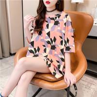 Midi Dress T Shirt Kaos xxl Abstrak Tangan 3/4 - Fashion Import Cotton - Orange