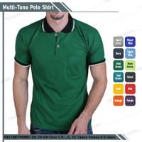 Kaos Polo Shirt Hijau Fuji Lis Hitam Lengan Pendek