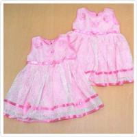 BJ106-Dress brocade bunga pink baju pesta anak balita girl