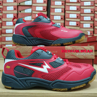 EAGLE ORBITS (100% ORI) Sepatu Badminton - MERAH/ABU, 38
