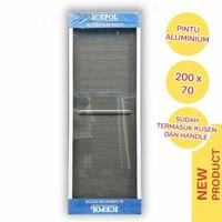Pintu Kamar Mandi Alumunium Polos 200 x 70 + Kusen + Handle Pintu