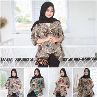 Atasan Baju Blouse Batik Kondangan Hangout Kuliah Kantor Wanita Modern