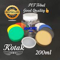 Kotak - Botol/Toples Plastik Jar 200ml-250ml/Sambal/Permen/Bumbu/Selai