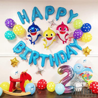 Set Foil Balloon Happy Birthday Baby Shark Polkadot / Dekorasi Balon