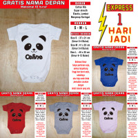 Romper Bayi Panda GRATIS NAMA ANAK Kaos bayi Baju bayi Jumper Bayi