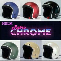 Helm Bogo retro polos dewasa list Croom Hitam glossy SNI murah