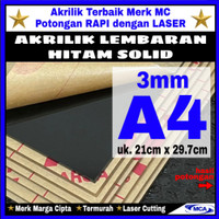 AKRILIK lembaran HITAM SOLID 3mm uk. A4 / Marga cipta / Arcylic