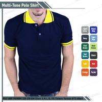 Kaos Polo Shirt Navy / Biru Dongker Lis Kuning Lengan Pendek
