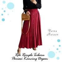 Rok Panjang Wanita Model Rempel BAHAN MOSCREPE MEDIUM - Maroon