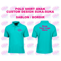 Kaos Polo Shirt Anak Custom Design Logo Sendiri Bordir/Sablon Satuan - M, 1 Sisi